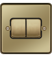 Hager 10AX 2 Gang 2 Way Wide Rocker Wall Switch (Polished Brass)