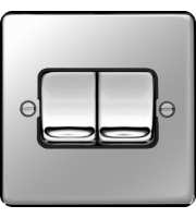 Hager 10AX 2 Gang 2 Way Wide Rocker Wall Switch (Polished Steel)