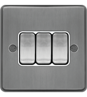 Hager 10AX 3 Gang 2 Way Wall Switch (Brushed Steel)