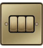 Hager 10AX 3 Gang 2 Way Wall Switch (Polished Brass)