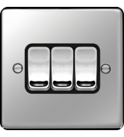 Hager 10AX 3 Gang 2 Way Wall Switch (Polished Steel)
