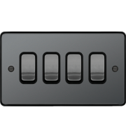 Hager 10AX 4 Gang 2 Way Wall Switch (Black Nickel)