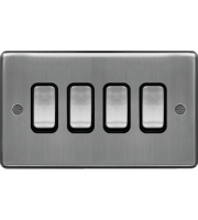 Hager 10AX 4 Gang 2 Way Wall Switch (Brushed Steel)