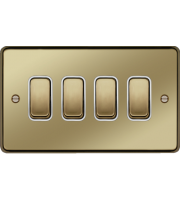 Hager 10AX 4 Gang 2 Way Wall Switch (Polished Brass)