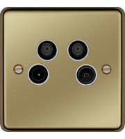 Hager TV/FM/DAB and Satellite 1&2 Outlet (Polished Brass)