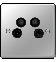 Hager TV/FM/DAB and Satellite 1&2 Outlet (Polished Steel)