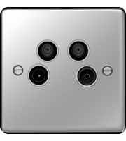 Hager TV/FM/DAB and Satellite 1&2 Outlet (Polished Stee)
