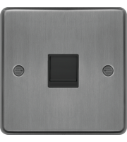 Hager RJ45 Socket (Brushed Steel/Black)