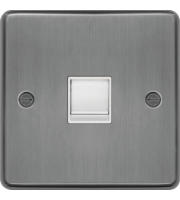Hager RJ45 Socket (Brushed Steel)