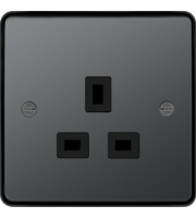 Hager 5A 1 Gang Unswitched Socket (Black Nickel)