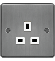 Hager 5A 1 Gang Unswitched Socket (Brushed Steel)