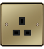 Hager 5A 1 Gang Unswitched Socket (Polished Brass)