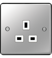 Hager 5A 1 Gang Unswitched Socket (Polished Steel)