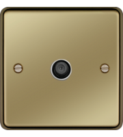 Hager F Type Satellite Outlet (Polished Brass)
