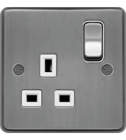 Hager 1 Gang Double Pole Switch Socket (Brushed Steel)