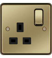 Hager 1 Gang Double Pole Switch Socket (Polished Brass)