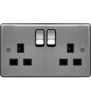 Hager 2 Gang Double Pole Switch Socket (Brushed Steel)