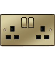 Hager 2 Gang Double Pole Switch Socket (Polished Brass)