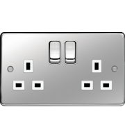 Hager 2 Gang Double Pole Switch Socket (Polished Steel)