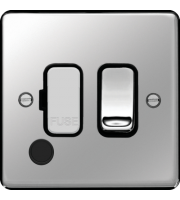 Hager Fused Connection Unit Switch Flex Outlet (Polished Steel)