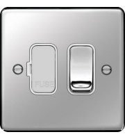 Hager Switched Fused Connection Unit (Polished Steel)