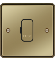 Hager Unswitched Fused Connection Unit (Polished Brass/Black)