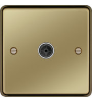 Hager Single CO-AX TV Outlet (Polished Brass)