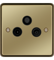Hager TV/FM/DAB & Satellite Outlet (Polished Brass)