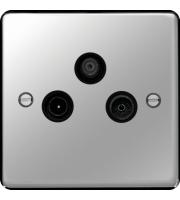 Hager TV/FM/DAB & Satellite Outlet (Polished Steel)