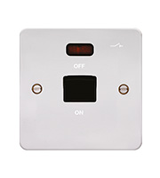 Hager 50A Double Pole Switch 1G LED (Polished Steel/Black)