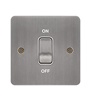 Hager 20A DP Switch (Brushed Steel/White)