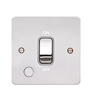 Hager 20A Double Pole Switch Flex Outlet (Polished Steel/White)