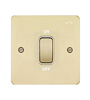 Hager 20A Double Pole Switch with LED Indicator (Polished Brass/White))