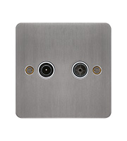 Hager TV & FM/DAB Outlet (Brushed Steel/White)