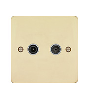 Hager TV & FM/DAB Outlet (Polished Brass/White)