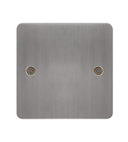 Hager Single Blank Plate (Brushed Steel)