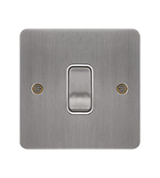 Hager 10AX 1 Gang 2 Way Wall Switch (Brushed Steel/White)