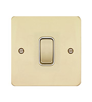 Hager 10AX 1 Gang 2 Way Wall Switch (Polished Brass/White)