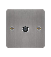 Hager F Type Satellite Outlet (Brushed Steel/White)