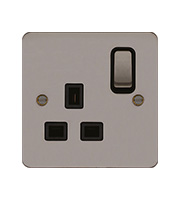 Hager 1 Gang Double Pole Switch Socket (Black Nickel)