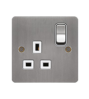 Hager 1 Gang Double Pole Switch Socket (Brushed Steel/White)