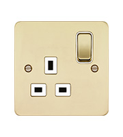 Hager 1 Gang Double Pole Switch Socket (Polished Brass/White)