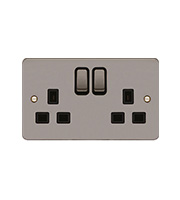 Hager 2 Gang Double Pole Switch Socket (Black Nickel)