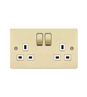 Hager 2 Gang Double Pole Switch Socket (Polished Brass/White)