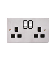 Hager 2 Gang Double Pole Switch Socket (Polished Steel/Black)