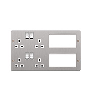 Hager TV Lounge Plate (Brushed Steel)