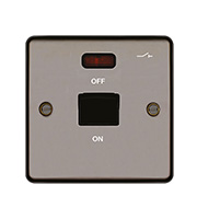 Hager 50A Double Pole Switch 1 Gang with LED (Black Nickel)