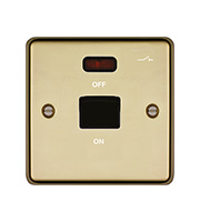 Hager 50A Double Pole Switch 1 Gang with LED (Polished Brass)