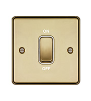 Hager 20A Double Pole Switch (Polished Brass)