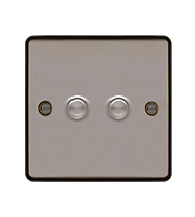 Hager 2 Gang Dimmer Switch (Black Nickel)